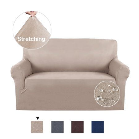 High Stretch Sofa Cover Machine Washable Stylish Furniture Cover / Protector with Suede Plush Pattern Slipcover (Loveseat, Sand) ()