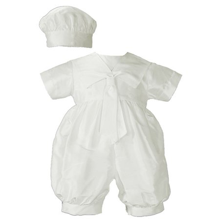 Baby Boys White Silk Sailor Collar Hat Christening Romper Set