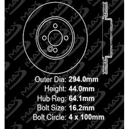 Max Brakes Front Premium Brake Kit [ OE Series Rotors + Metallic Pads ] TA142841 | Fits: 2010 10 2011 11 Mini Cooper w/294mm Front Rotors - image 4 de 8