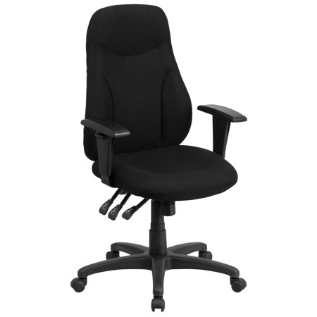 Flash Furniture High Back Black Fabric Multi-Functional Ergonomic Swivel Task Chair with Height Adjustable Arms