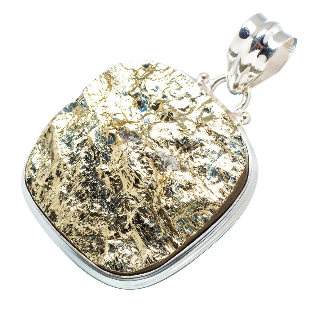 "Ana Silver Co Rough Pyrite 925 Sterling Silver Pendant 1 1/2"" - Handmade Jewelry PD606914"