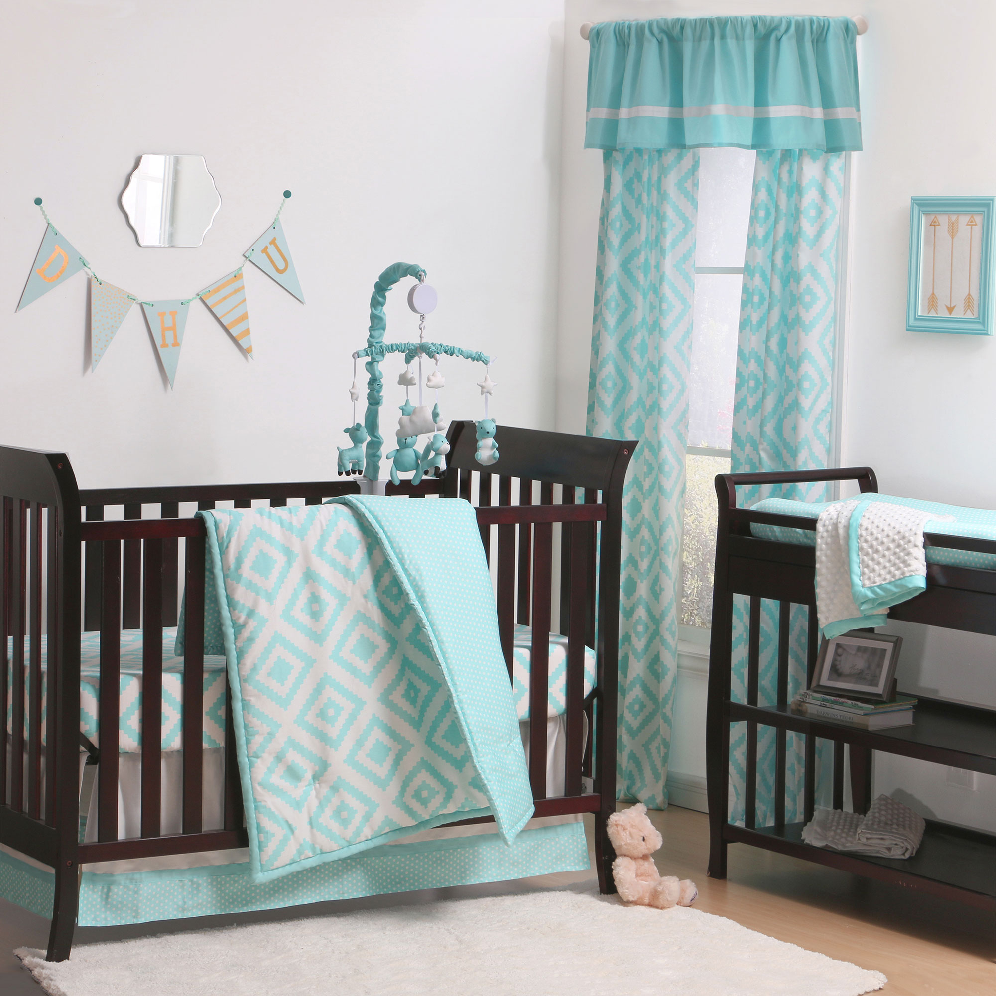 The Peanut Shell 4 Piece Baby Crib Bedding Set - Teal Turquoise Aqua Blue Diamond Geometric Dots - 100% Cotton Quilt, Dust Ruffle, Fitted Sheet, and Mobile