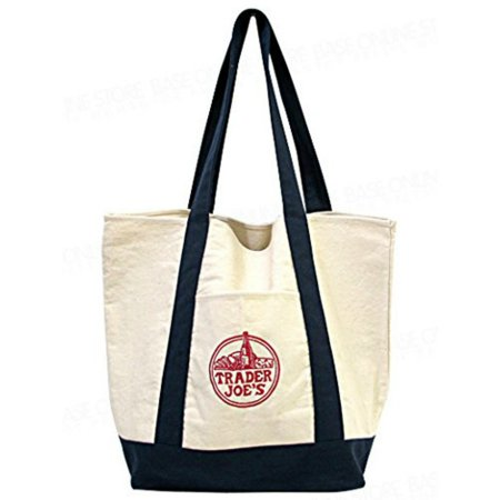 Reusable Fashion Tote Bag From Trader Joes Heavy Duty Cotton Canvas Shoulder With