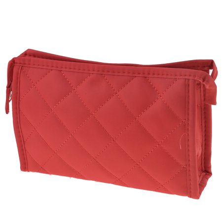 Unique Bargains Lady Red Stitching Rhombus Print Zippered Makeup Cosmetic Bag Holder - image 1 of 1