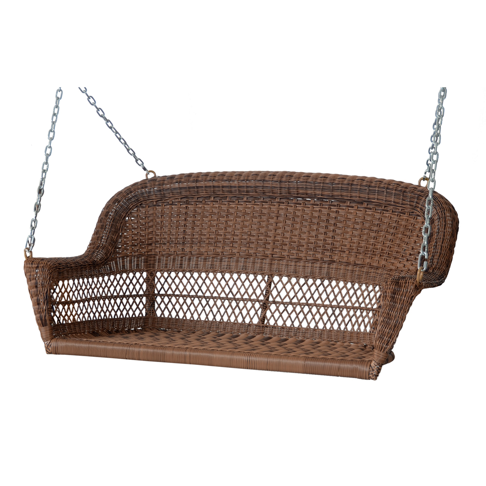 "51.5"" Hand Woven Honey Brown Resin Wicker Outdoor Porch Swing"
