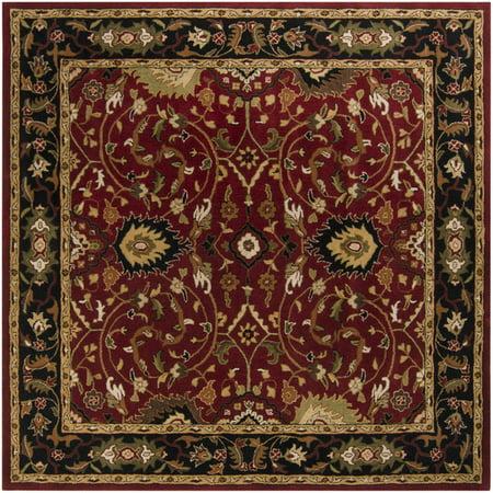 9.75' x 9.75' Cicero Venetian Red & Caramel Tan Hand Tufted Wool Area Throw - Venetian Red Wool