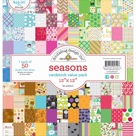"Doodlebug Value Kit Cardstock 12""X12"" 50/Pkg-Seasons"