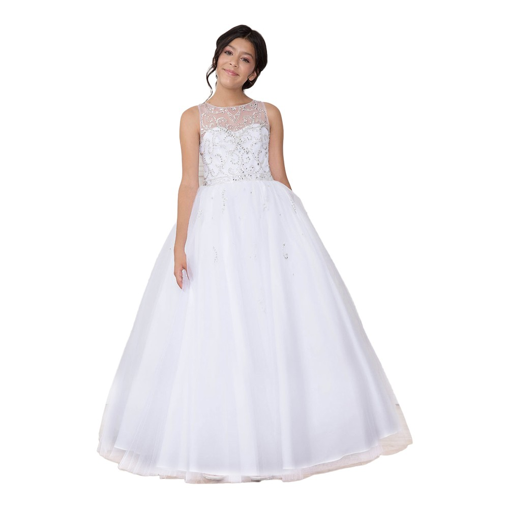 Girls White Bejeweled Floor-Length Pageant Dress