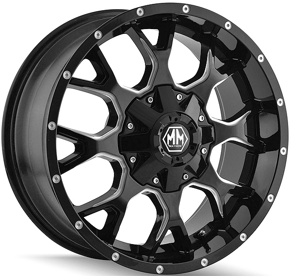 MAYHEM 8015 Warrior 20x9 8x180 0mm Black/Milled Wheel Rim
