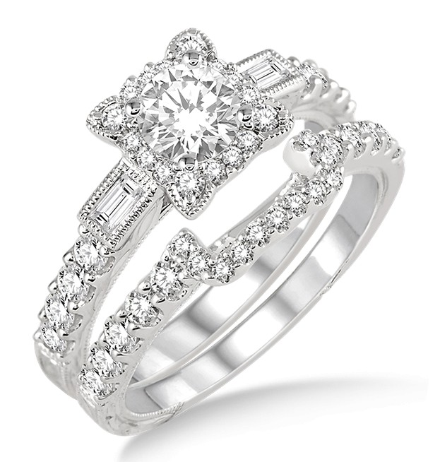 1.00 Carat Vintage floral Bridal Set Engagement Ring with Round Diamond in 10k white Gold by JeenJewels