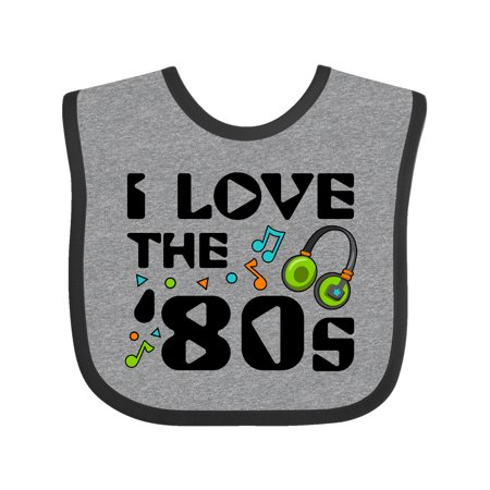 Inktastic I Love the '80s-musical notes Baby Bib Unisex, Heather and Black