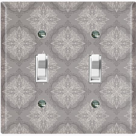 Metal Light Switch Plate Outlet Cover (Damask Ornament Gray Pattern - Double Toggle)