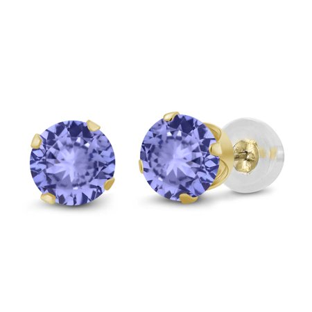 0.92 Ct Round 5mm Blue Tanzanite 14K Yellow Gold Stud Earrings