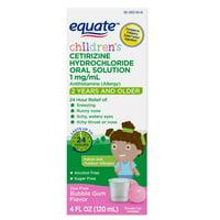 Equate Children's Allergy Relief Cetirizine HCl Oral Solution, Bubble Gum, 4 fl oz