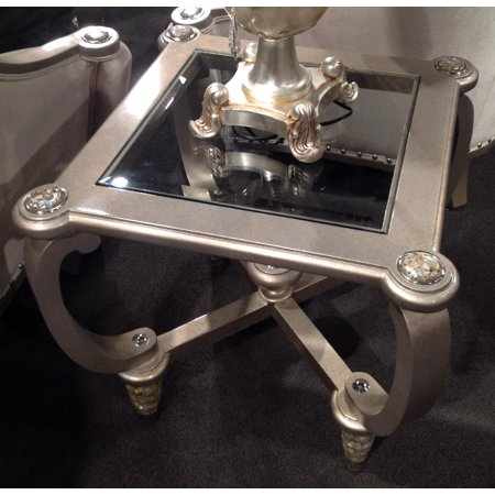 Benetti Sofia Luxury Silver End Table w Philippine Seashells Inlay Special Order