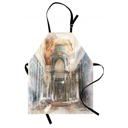 Antique Apron Old Ancient Abandoned Renaissance Era Architecture With Columns Artwork Print, Unisex Kitchen Bib Apron with Adjustable Neck for Cooking Baking Gardening, White and Blue, by Ambesonne