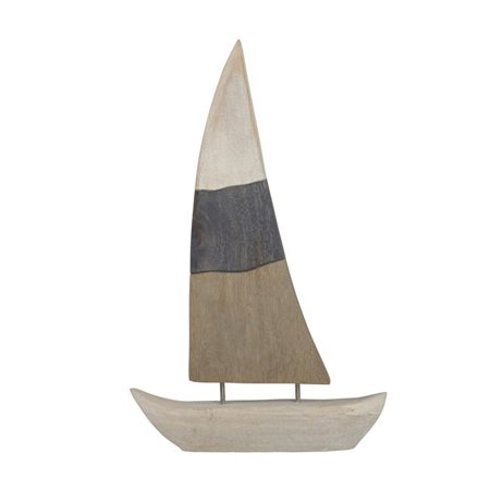 Benzara BM190456 Nautical Charmed Mango Wood Sailboat Decor with Left Side Mainsail - Multi Color - image 1 de 1