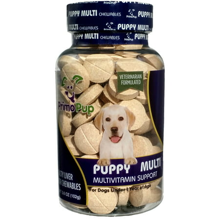 PUPPY MULTIVITAMIN   Primo Pup Vet Health   Supports Physical & Mental Wellbeing   Veterinarian Formula   Easy for Dog to Digest   No Artificial Colors, Flavors, or Grains   Made in USA   60