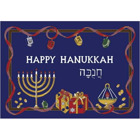 Milliken Seasonal Inspirations Area Rugs - Novelty 00014 Blue Hanukkah Menorah Dreidels Gelt Rug