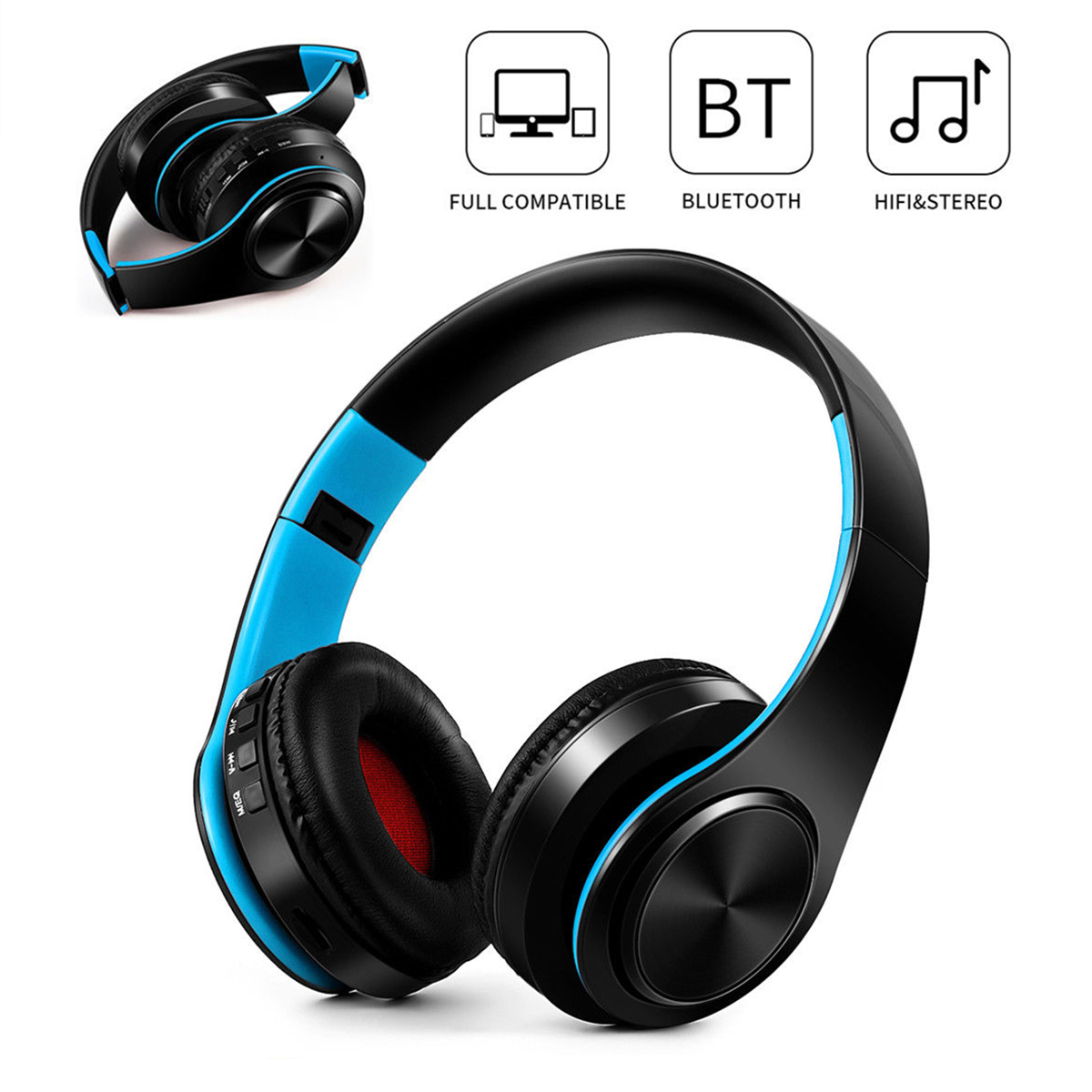 On Ear Noise Cancelling bluetooth Headphones HI-FI Stereo Surround Rechargeable Foldable Wireless Headsets for Cell Phone, Tablet PC Laptop, MP3/4, Video Game