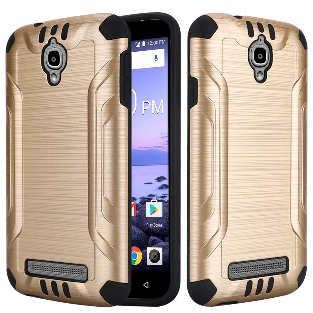 For Coolpad Canvas 3636A Slim Armor Brushed Metal Design Hybrid PC TPU Hard Plastic/Soft Silicone Case Cover - White/Black