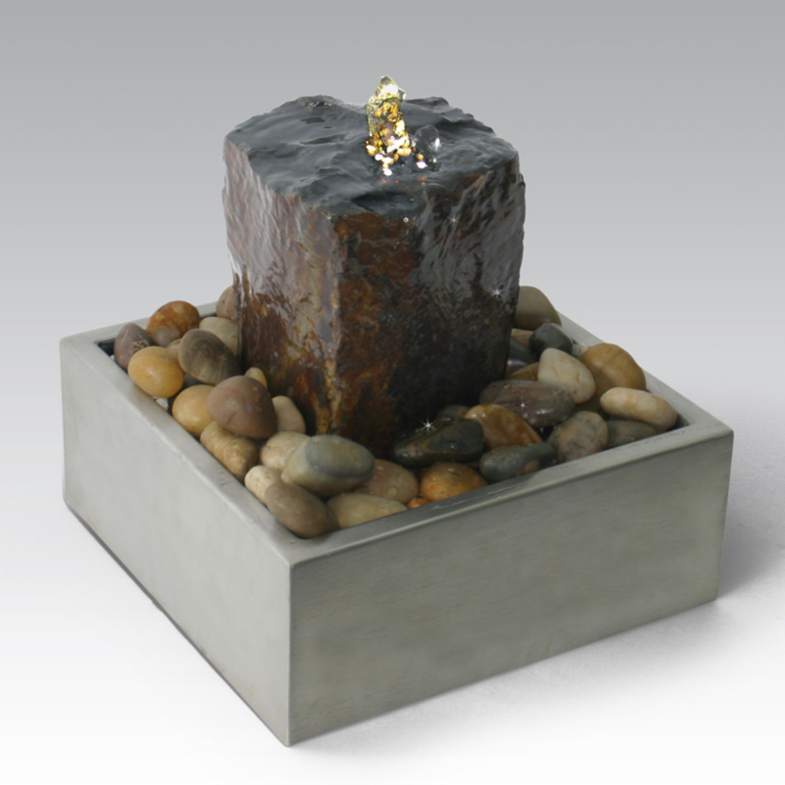 Algreen Illuminated Relaxation Outdoor Fountain with Authentic Basalt Rock Pillar and Stainless Steel Base - Gray