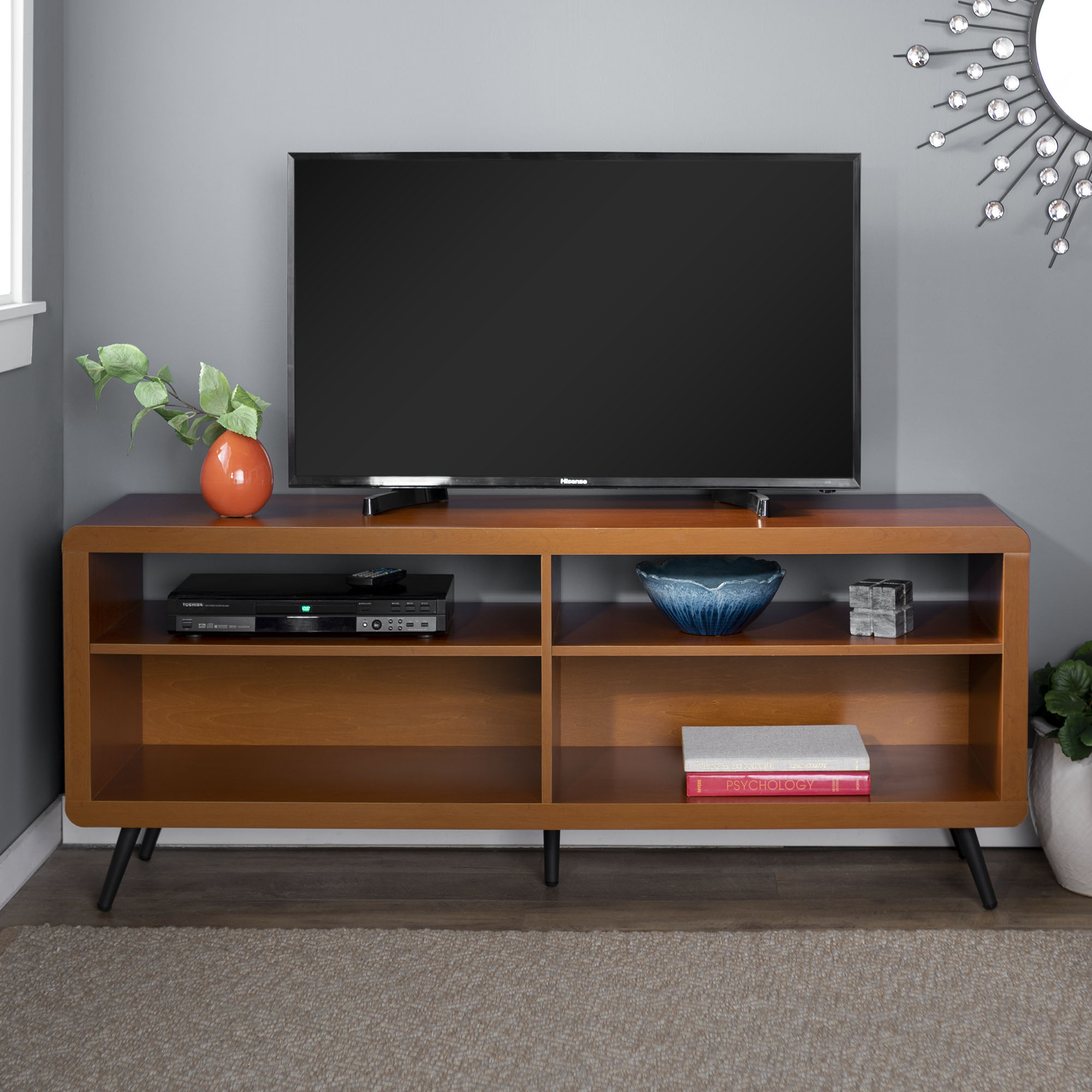 58 mid century modern wood rounded corner tv stand storage media console entertainment center acorn black walmart com
