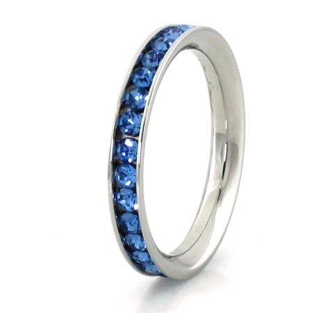 Stainless Steel Sapphire Crystal (Stainless Steel Eternity 3 mm Blue Sapphire Color Crystal Stackable Ring)