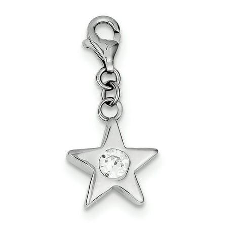 Sterling Silver Rhodium-plated April CZ Birthstone Star Charm QC4813 (28mm x 14mm) - image 3 de 3