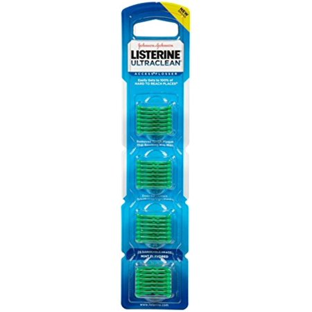 Listerine Ultraclean Access Flossers Disposable Heads Fresh Mint Crystals 28 Each