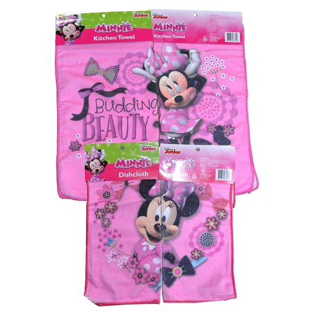 Minnie Flower Kitchen Towel & Dish Cloth Set (Light Pink)