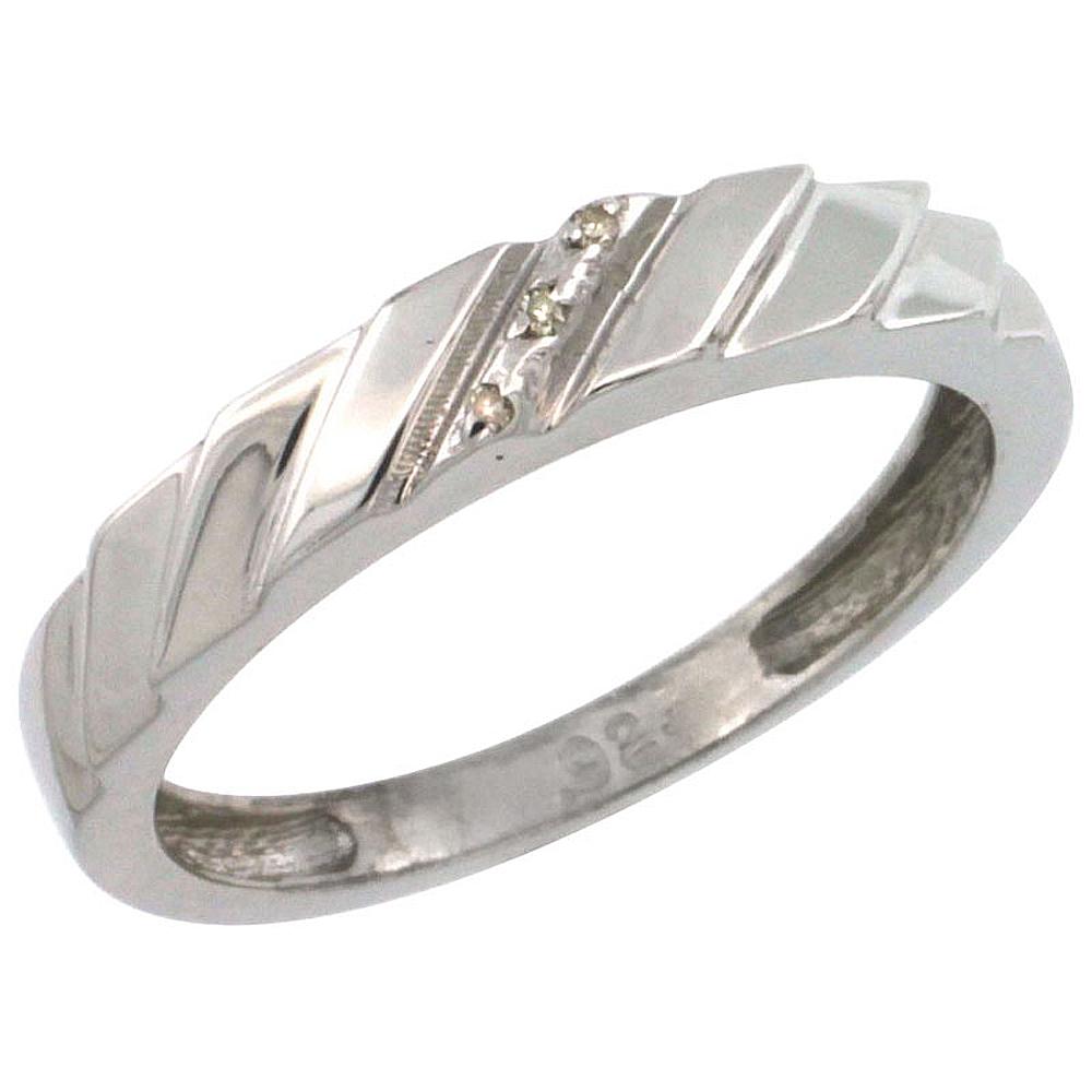 Sterling Silver Mens Diamond Band wide 5.5mm Size 9 w// 0.03 Carat Brilliant Cut Diamonds 7//32 in.