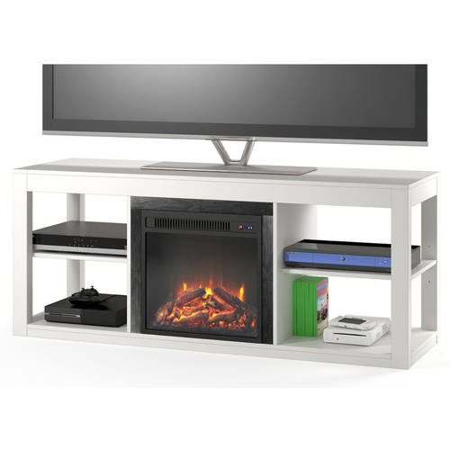 "Ameriwood Home Parsons Electric Fireplace TV Stand for TVs up to 65"", Black"
