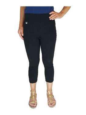 Rafaella Womens Size 8 Pull-On Comfort Stretch Capri Dress Pants, Black