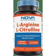 Nova Nutritions L-Arginine L-Citrulline 1000mg - Promotes Muscle Relaxation - 120 Tablets