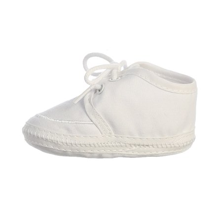 Baby Boy White Cotton Lace Up Christening Bootie