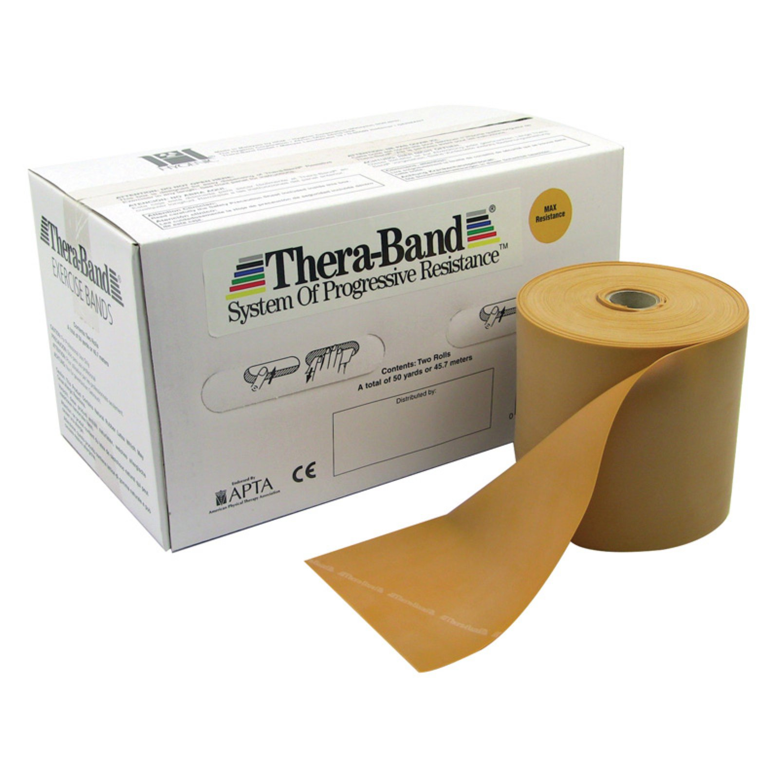 TheraBand Twin-Pak exercise band, gold, 100 yard (4 25-yd boxes)