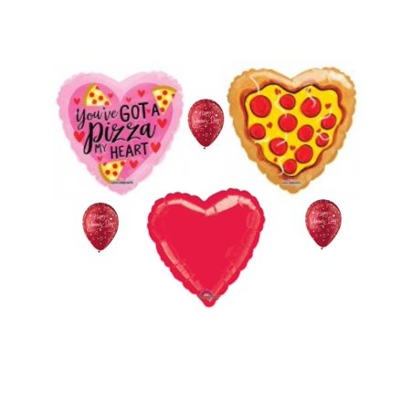 Pizza My Heart Valentine's Day Balloon Bouquet Party Balloons Decoration Supply (Valentine Supply)
