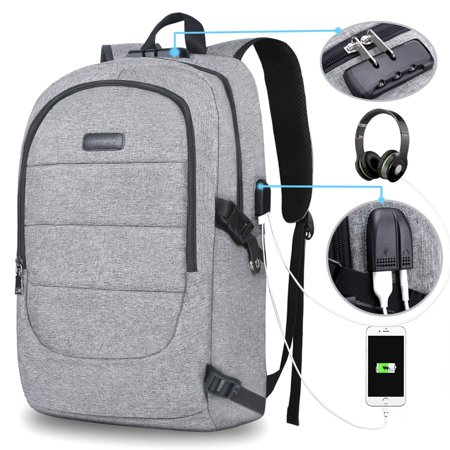 Mosiso Business Laptop Backpack, Anti-theft Water Resistant School Bookbag with USB Charging Port & Lock & Headphone Interface for College Travel Work, Fits up to 17.3 Inch MacBook Notebook,