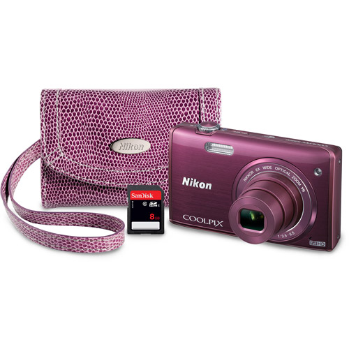 Nikon Plum S5200 Digital Camera with 16 Megapixels and 6x Optical Zoom Value Bundle with 8GB Card and Case