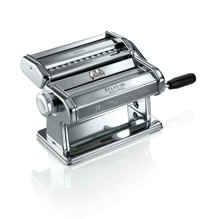 Atlas Made in Italy Pasta Machine, Silver, Includes 180-Millimeter Pasta Machine with Pasta Cutter, Hand Crank, and Instructions, 10-Year Warranty Double Cutter Pasta Machine