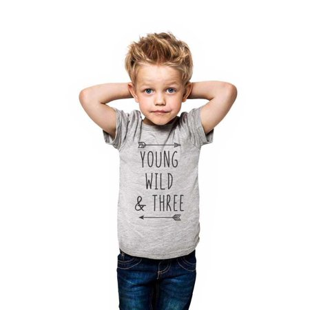 Young Wild & Three - wallsparks cute & funny Brand cool boho 3rd Birthday Shirt Age 3 Three year old - Soft Toddler Shirt](3t Age)