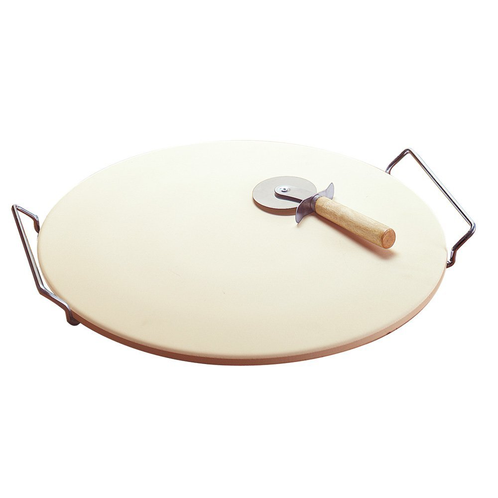14.75 Inch Pizza Stone with Rack, For Crispier, Better Baked Crusts By Good Cook by