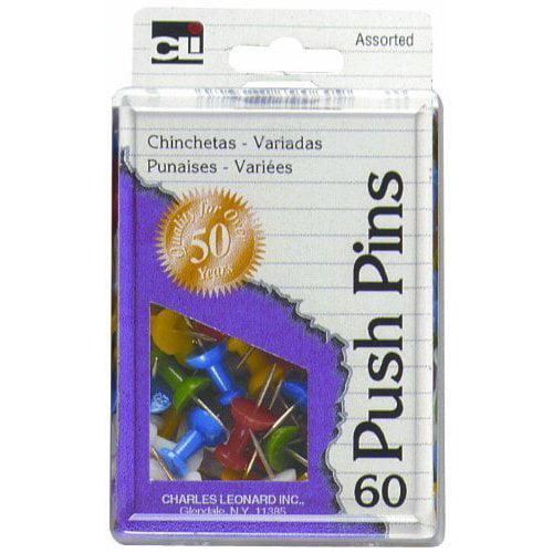 Charles Leonard Boxed Push Pins Asst 60 Pk Box 79060 Pack Of 12