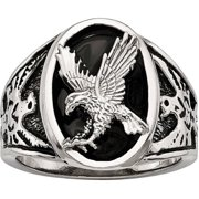 Stainless Steel Polished Enameled Eagle Ring, Available in Multiple Sizes