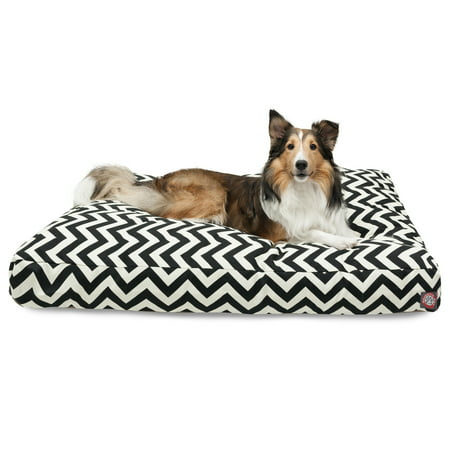 "Majestic Pet Chevron Rectangle Dog Bed Treated Polyester Removable Cover Black Large 44"" x 36"" x 5"""