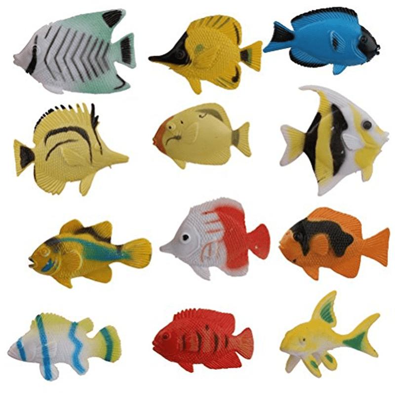 PIXNOR Ocean Animal Tropical Fish Figure Model Preschool Kids Toy - 12 Pieces