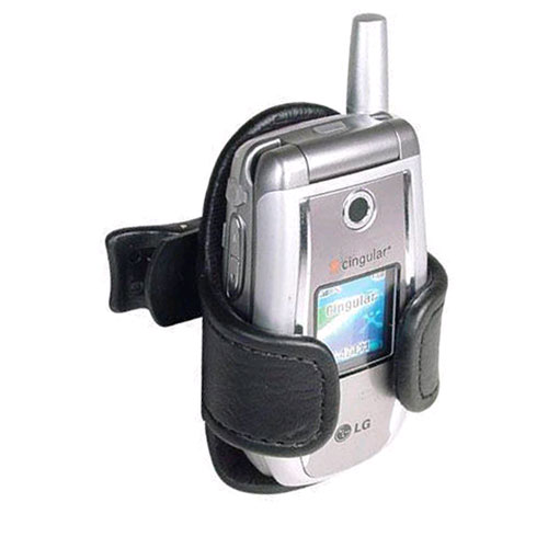 Technocel Universal Leather Holster with Swivel Belt Clip - Black