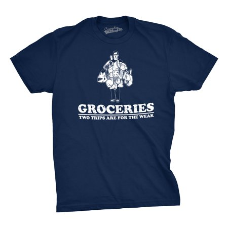 Mens Groceries Two Trips Are For The Week Tshirt Funny Dad Joke Tee For Guys (Short Funny Halloween Jokes For Adults)