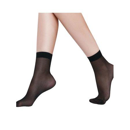 Ladies Close-Fitting Black Color Ankle Sheer Socks 20-Pair Pack